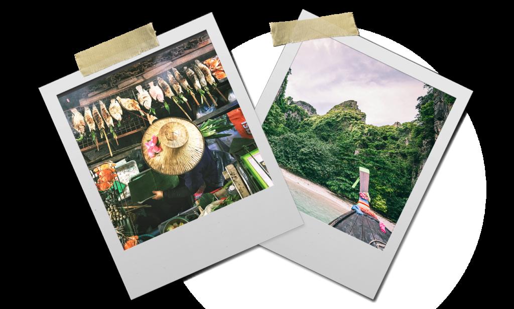 photo effet polaroid avec vendeuse de nourriture et ile phi phi en thaïlande