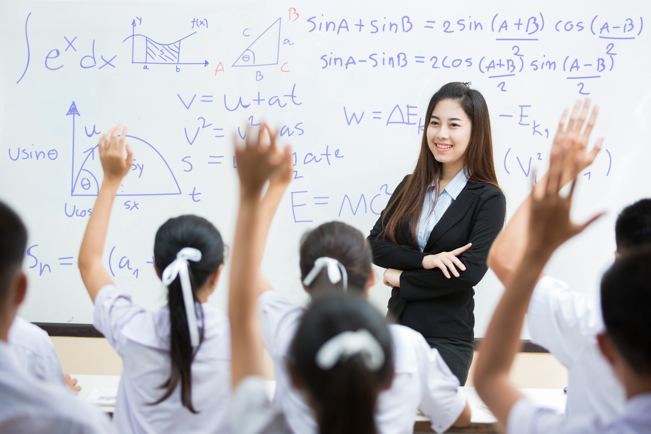students answer the teacher's questions in science. and mathemat