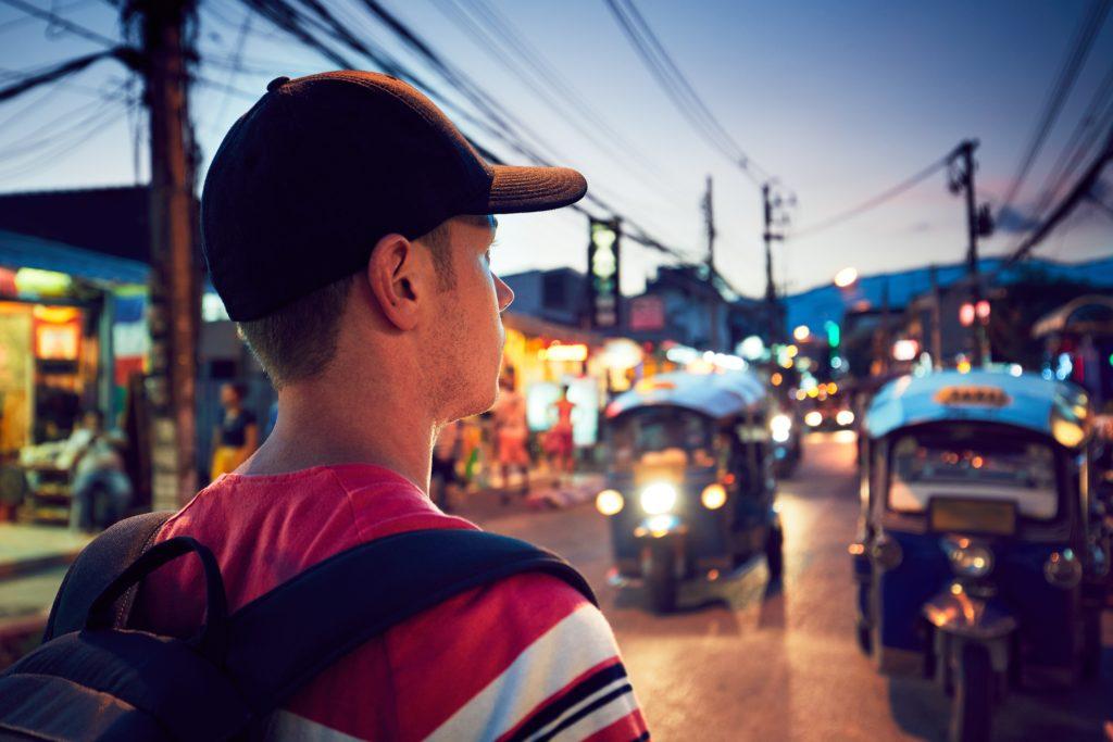 traveler on the street